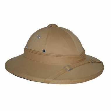 Safari hoed in kaki kleur carnavalskleding