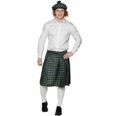 Schotse kilt met groene ruitjes carnavalskleding
