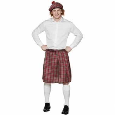 Schotse kilt met rode ruitjes carnavalskleding