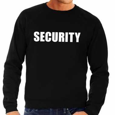 Security tekst sweater / trui zwart voor herencarnavalskleding
