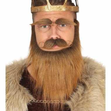 Set met baard, snor en wenkbrauwen bruincarnavalskleding