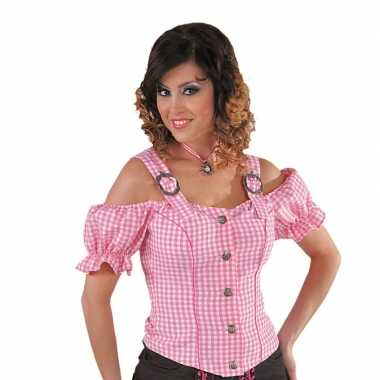 Sexy cowboy blouse voor dames rozecarnavalskleding