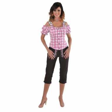 Sexy rozee blouse met blote schouders carnavalskleding