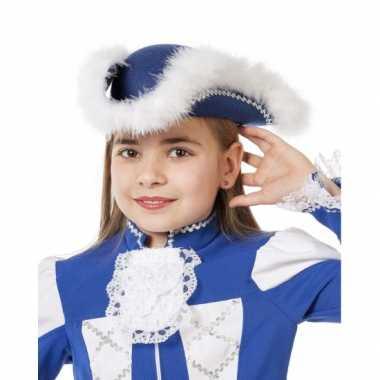 Showdans hoedje voor meiden blauw met witcarnavalskleding