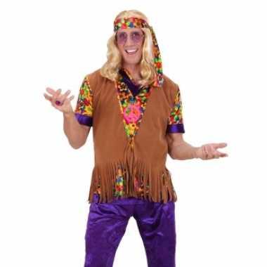 Sixties hippie vest met hoofdband voor herencarnavalskleding