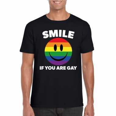 Smile if you are gay emoticon shirt zwart herencarnavalskleding