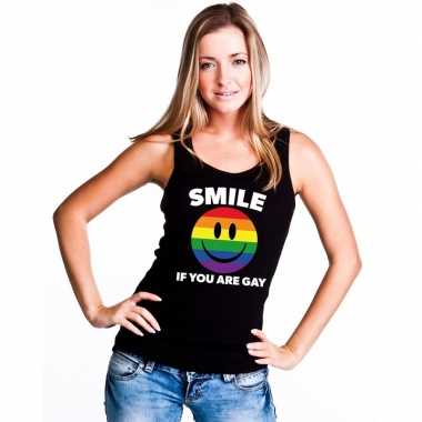 Smile if you are gay emoticon tanktop/ singlet shirt zwart damescarna