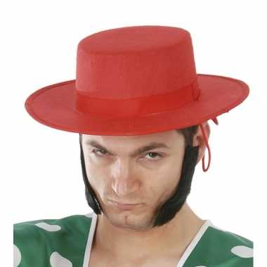 Spaanse heren hoed roodcarnavalskleding