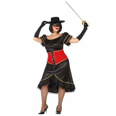 Spaanse zwart/rood verkleed jurk voor damescarnavalskleding