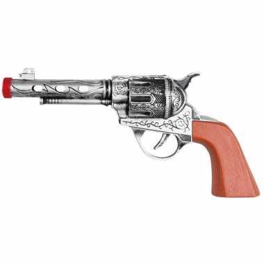 Speelgoed sheriff revolvers pistolen zilver 20 cm carnavalskleding