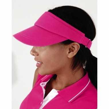 Sportieve zonneklep fuchsia rozecarnavalskleding
