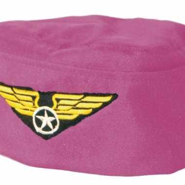 Stewardess hoedje rozecarnavalskleding