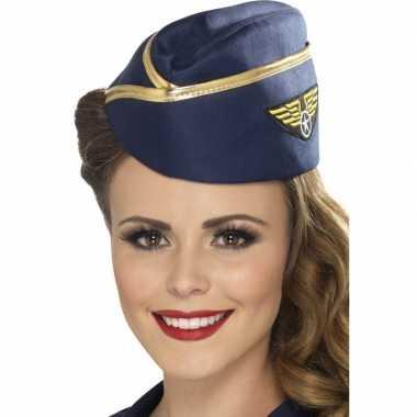 Stewardessen hoeden blauwcarnavalskleding