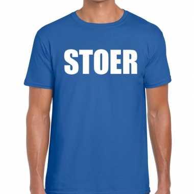 Stoer tekst t-shirt blauw herencarnavalskleding