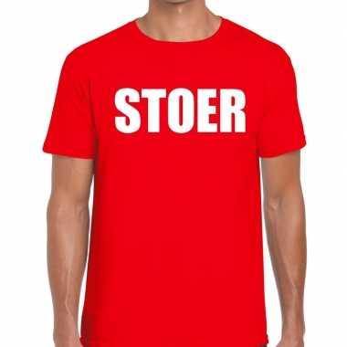 Stoer tekst t-shirt rood herencarnavalskleding