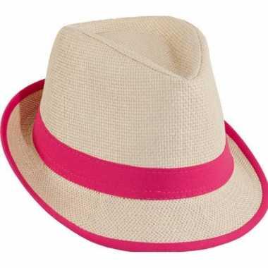 Stro trilby hoedje rozecarnavalskleding