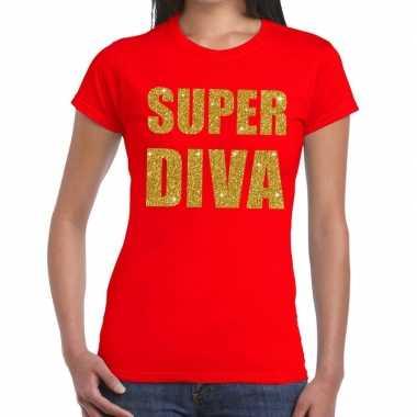 Super diva glitter tekst t-shirt rood damescarnavalskleding