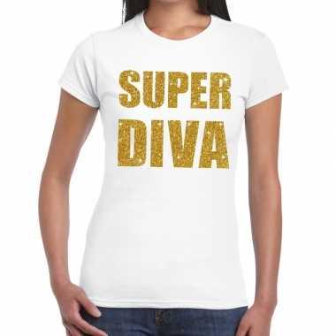 Super diva glitter tekst t-shirt wit damescarnavalskleding