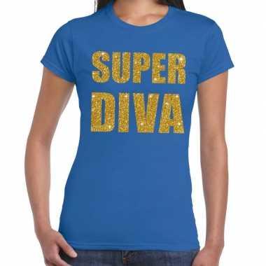 Super diva gouden glitter tekst t-shirt blauw damescarnavalskleding