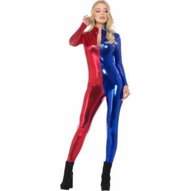 Superheld catsuit rood/blauw metalliccarnavalskleding