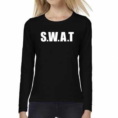 Swat tekst t-shirt long sleeve zwart voor damescarnavalskleding
