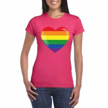 T-shirt roze regenboog vlag in hart roze damescarnavalskleding
