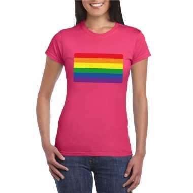 T-shirt roze regenboog vlag roze damescarnavalskleding