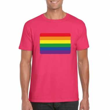 T-shirt roze regenboog vlag roze herencarnavalskleding