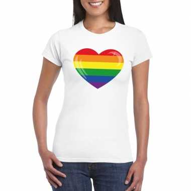 T-shirt wit regenboog vlag in hart wit damescarnavalskleding