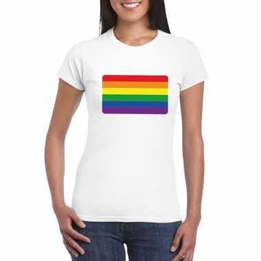 T-shirt wit regenboog vlag wit damescarnavalskleding