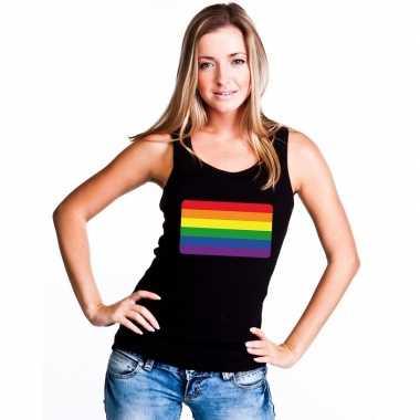 Tanktop zwart regenboog vlag zwart damescarnavalskleding