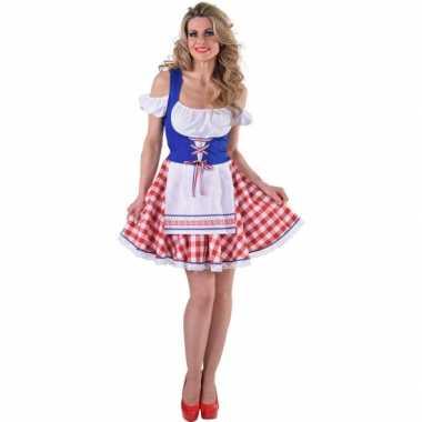Tiroler jurkje rood wit blauw carnavalskleding