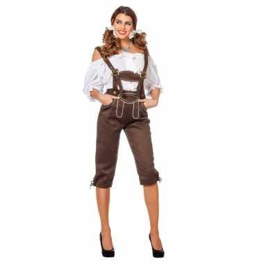 Tiroler kleding lederhose bruin voor dames carnavalskleding