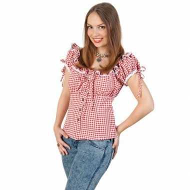 Tiroler shirt rood met wit damescarnavalskleding