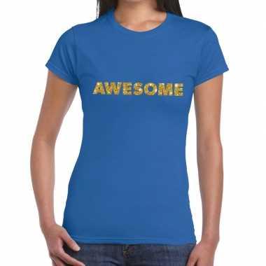 Toppers - awesome goud glitter tekst t-shirt blauw damescarnavalskled