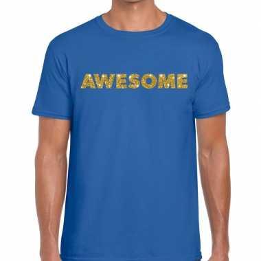 Toppers - awesome goud glitter tekst t-shirt blauw herencarnavalskled