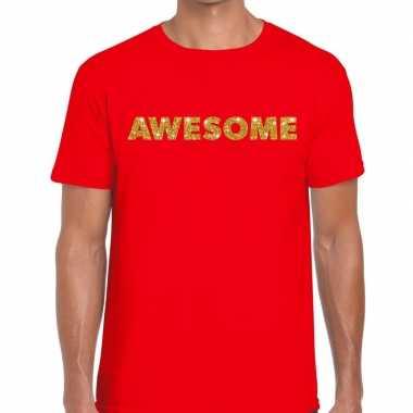 Toppers - awesome goud glitter tekst t-shirt rood herencarnavalskledi