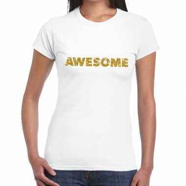 Toppers - awesome goud glitter tekst t-shirt wit damescarnavalskledin