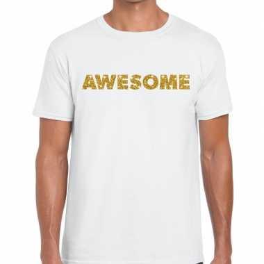 Toppers - awesome goud glitter tekst t-shirt wit herencarnavalskledin