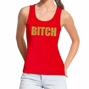 Toppers - bitch glitter tekst tanktop / mouwloos shirt rood damescarn
