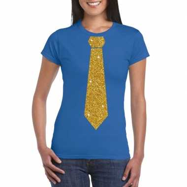 Toppers - blauw fun t-shirt met stropdas in glitter goud damescarnava