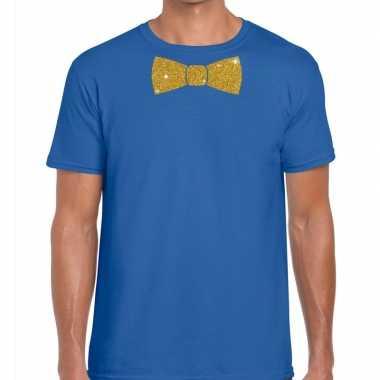Toppers - blauw fun t-shirt met vlinderdas in glitter goud herencarna