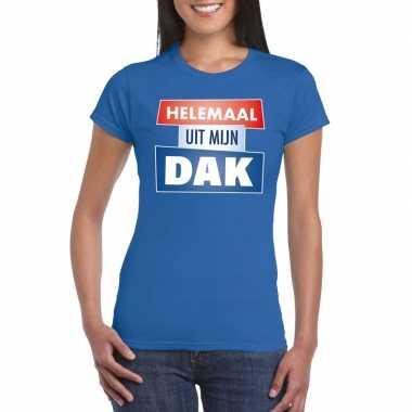 Toppers - blauw helemaal uit mijn dak t-shirt damescarnavalskleding
