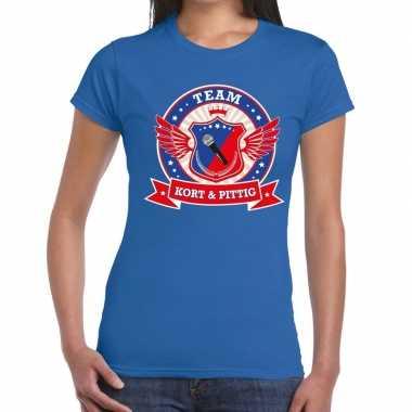 Toppers - blauw kort en pittig team t-shirt damescarnavalskleding