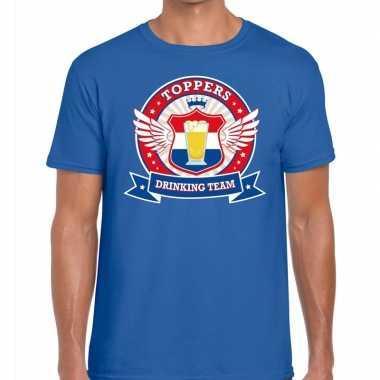 Toppers - blauw toppers drinking team t-shirt herencarnavalskleding