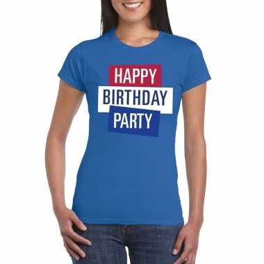 Toppers - blauw toppers happy birthday party dames t-shirt officieelc