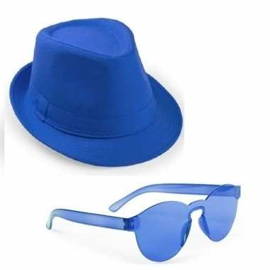 Toppers - blauw trilby party hoedje met blauwe zonnebrilcarnavalskled