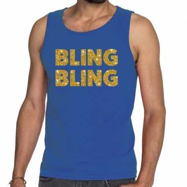 Toppers - bling bling glitter tanktop / mouwloos shirt blauw herencar
