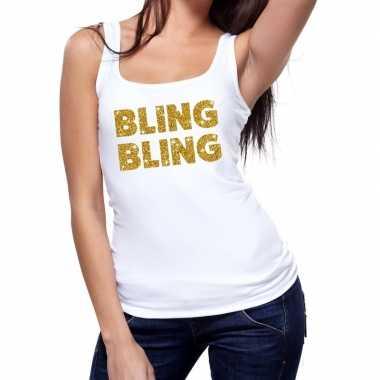Toppers - bling bling glitter tanktop / mouwloos shirt wit damescarna