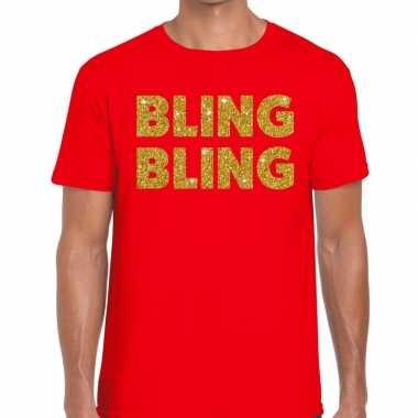 Toppers - bling bling glitter tekst t-shirt rood herencarnavalskledin
